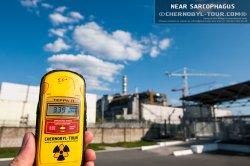 Дозиметр радиации около Чернобыльской атомной электростанции
